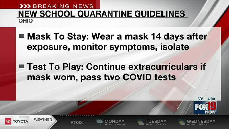 New COVID-19 quarantine guidance issued for Ohio schools