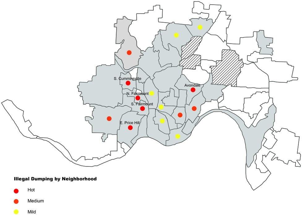 Here are the hot spots of illegal dumping in Cincinnati neighborhoods