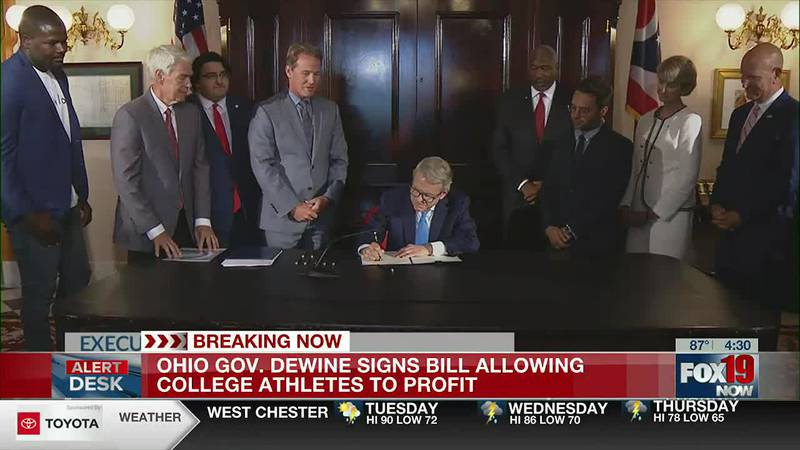 Gov. DeWine signs bill allowing college athletes to profit from NIL