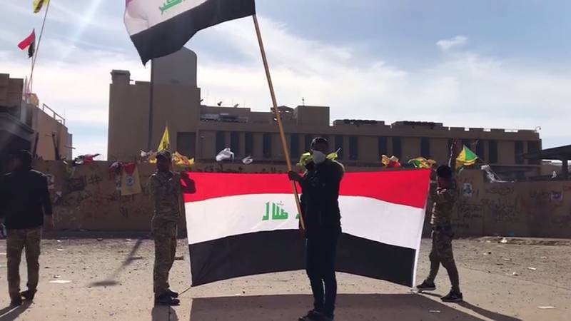 For a second day, demonstrators are outside the U.S. embassy in Baghdad protesting airstrikes.