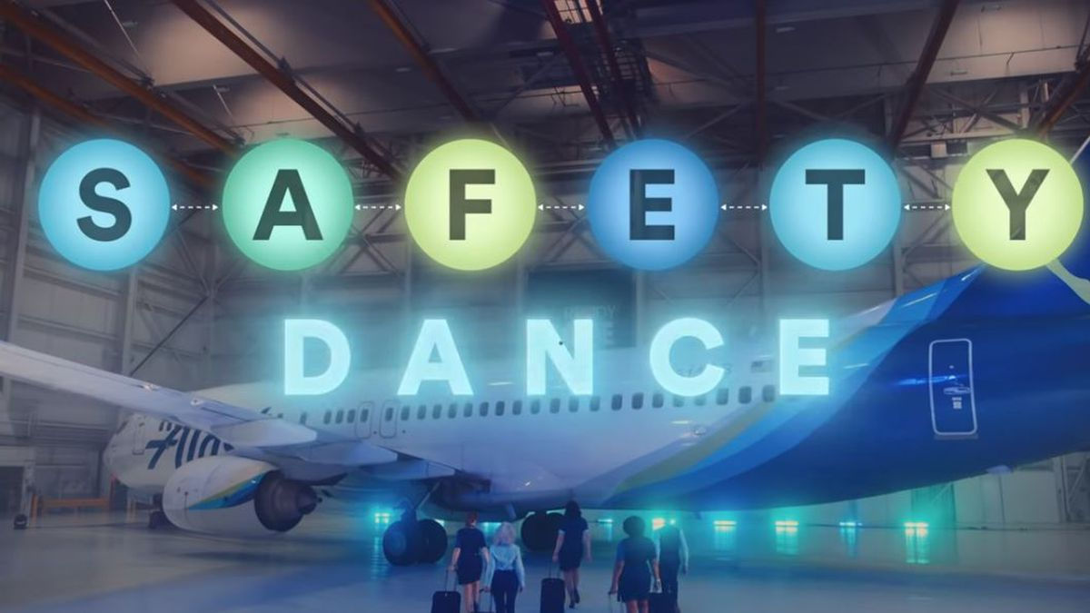 """Alaska Airlines is using the 80s hit """"The Safety Dance"""" to talk COVID-19 safety on its flights"""