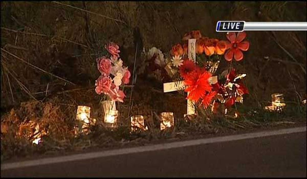 A memorial erected at the scene of the shooting.