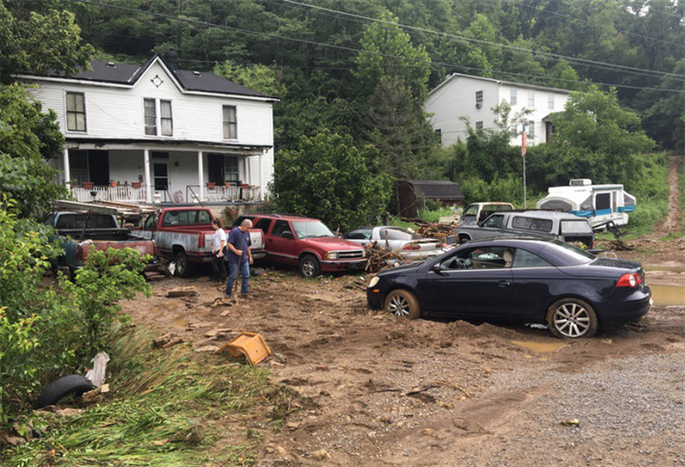 Damage in front of a home in Maysville as a result of flash flooding. (Source: Sara Celi)