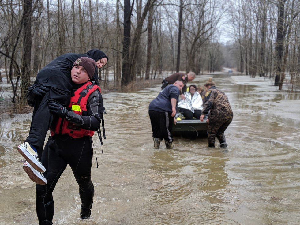 The group was rescued after about 14 hours of being stranded.