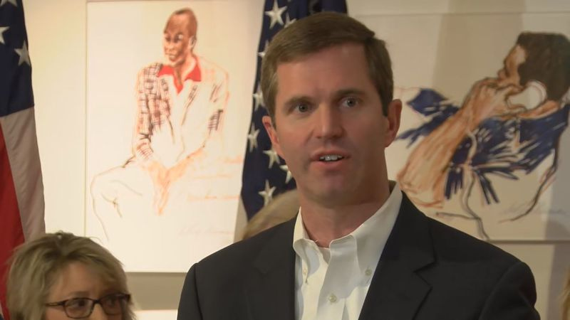 Andy Beshear spoke at the Muhammad Ali Center on Wednesday.