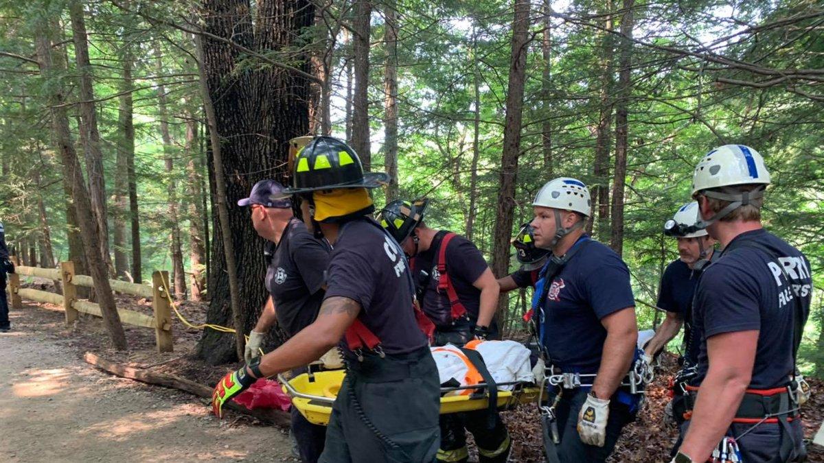 A small boy fell over the edge of a steep cliff in Jordan Creek Park Sunday.