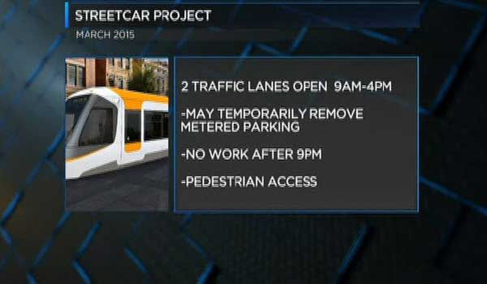 Two traffic lanes will be open 9 a.m. to 4 p.m. while work for Cincinnati's streetcar continues...