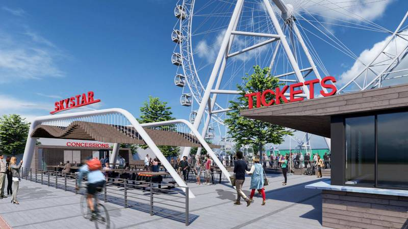 The new 180-foot-high SkyStar Wheel is scheduled to open at The Banks in about a year. It will...