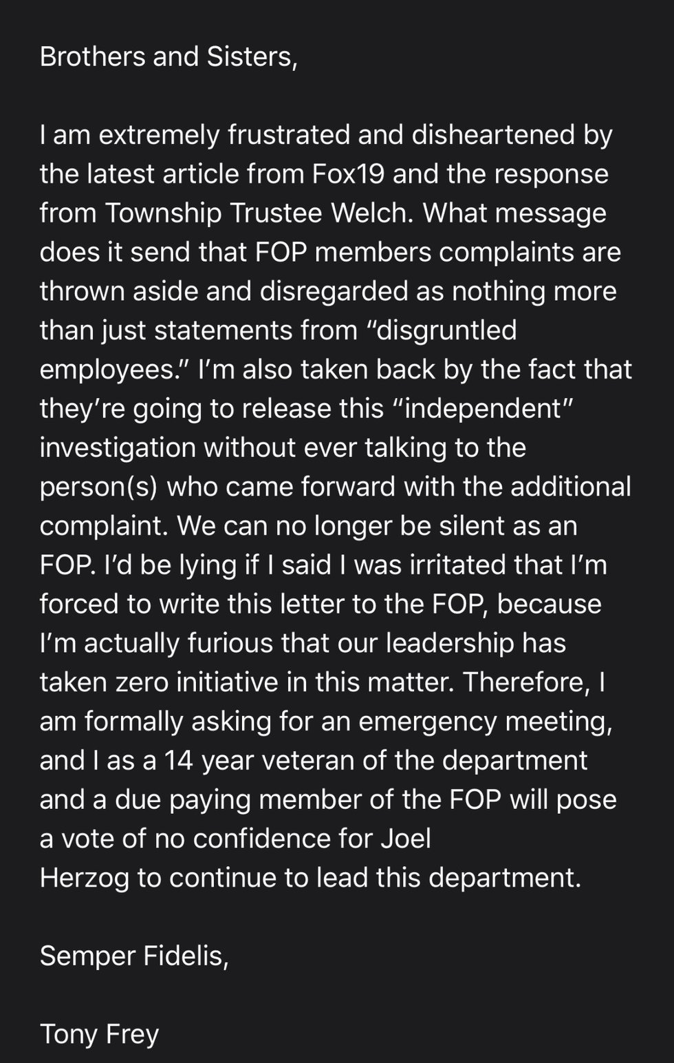 Some West Chester Township police officers are calling for a no-confidence vote in Police Chief...