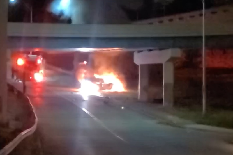 Cincinnati police and fire crews are on scene of a fiery crash Downtown early Monday.