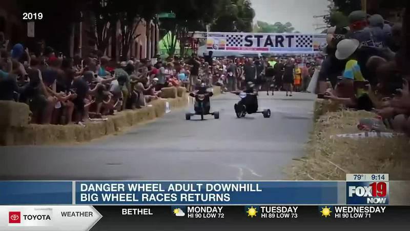 Cincinnati Danger Wheel: Adult downhill Big Wheel races