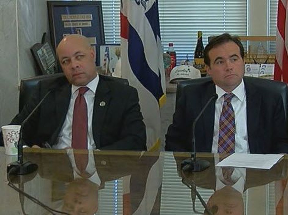 City Manager Harry Black and Mayor John Cranley at a press conference earlier this year (FOX19...