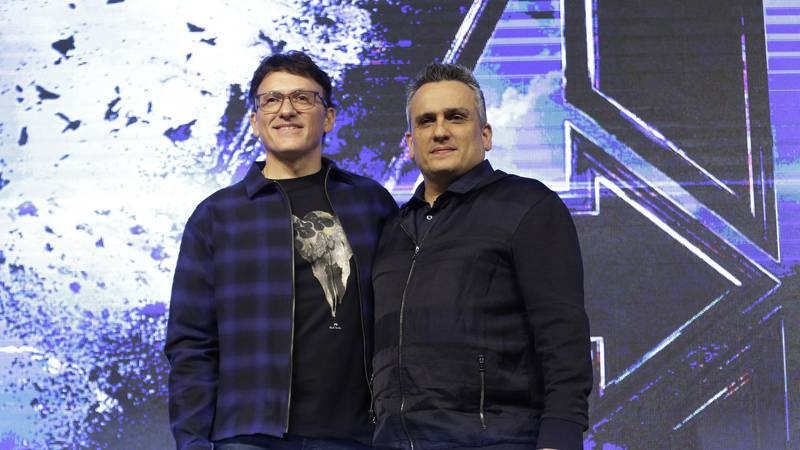 Director Anthony Russo, left, and Joe Russo pose during an Asia Press Conference to promote...