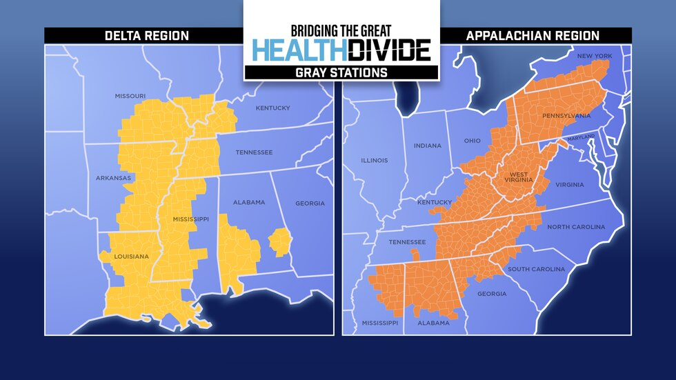 The counties that make up the Delta (yellow) and Appalachian (orange) regions have some of the...