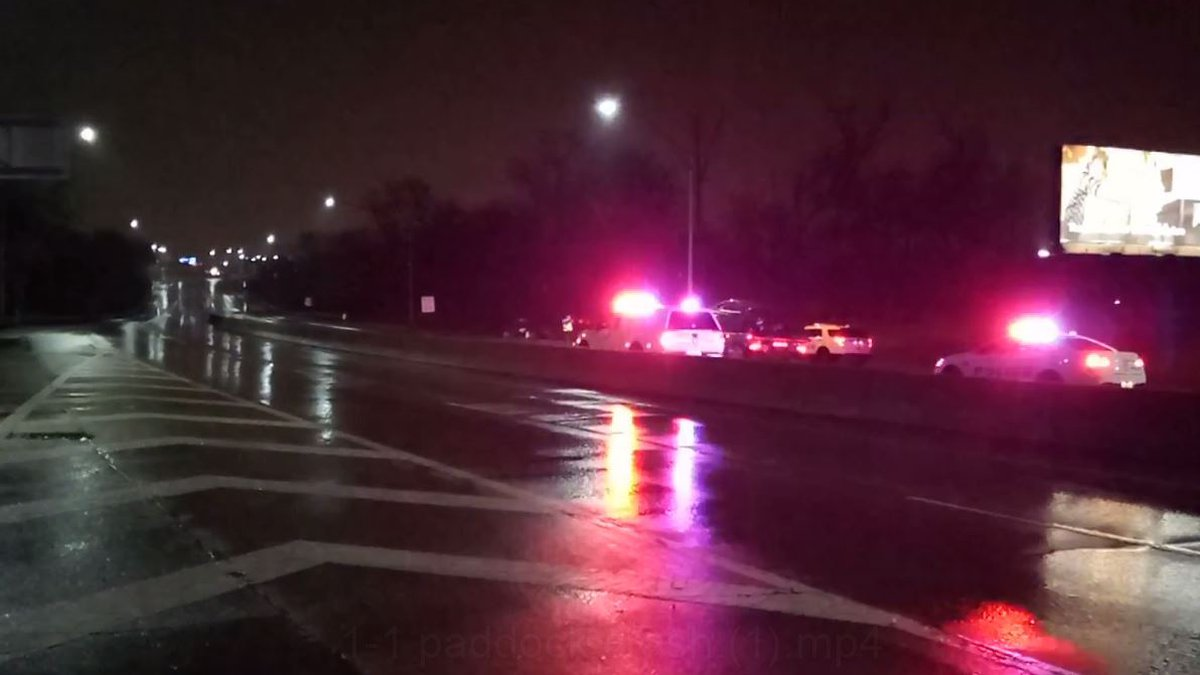 A 2-vehicle accident has shut down eastbound Norwood Lateral.
