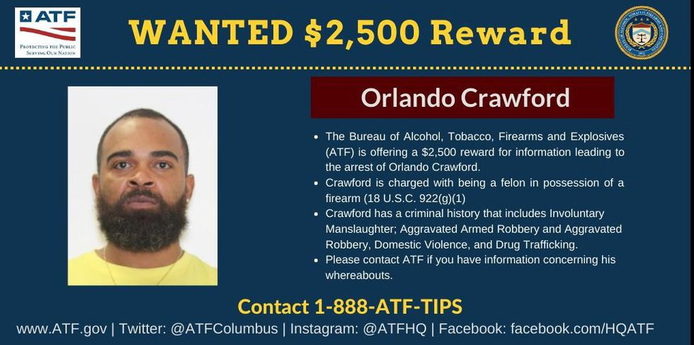 Orlando Crawford, 42, is wanted by the Bureau of Alcohol, Tobacco, Firearms, and Explosives.