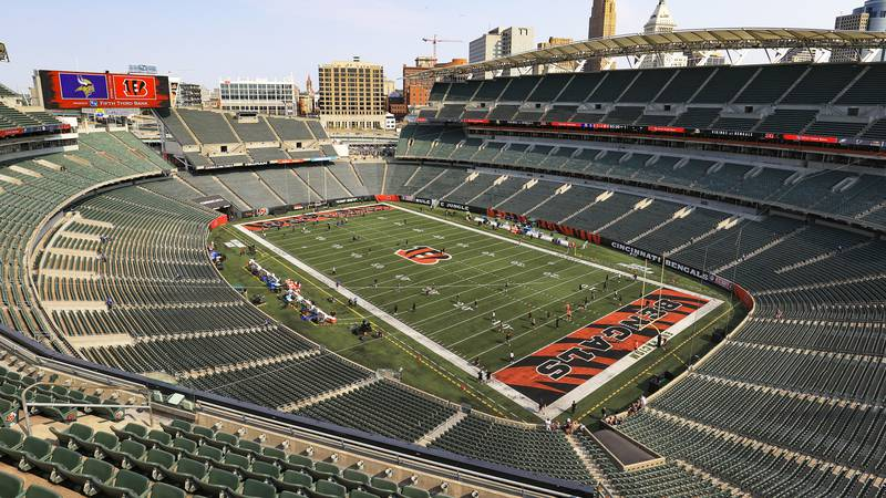 The electronic display shows the team logos over the empty Paul Brown Stadium before an NFL...