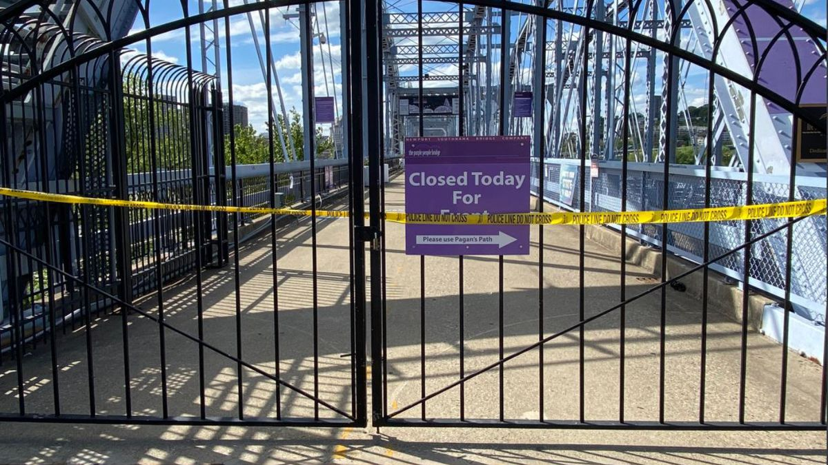 The Purple People Bridge closed on Tuesday due to a falling stone.