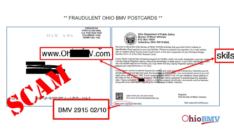 The Ohio BMV is warning of fraudulent postcards being sent to Ohio residents.
