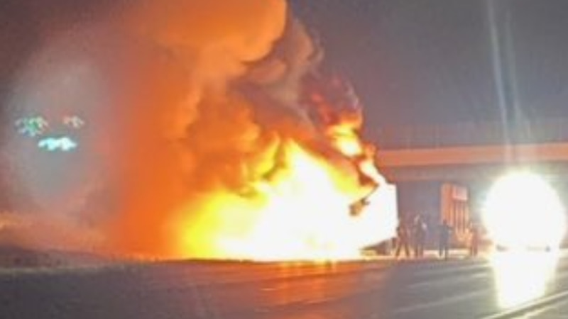 A semi tractor-trailer erupted in flames, shutting down southbound Interstate 75 in Butler...