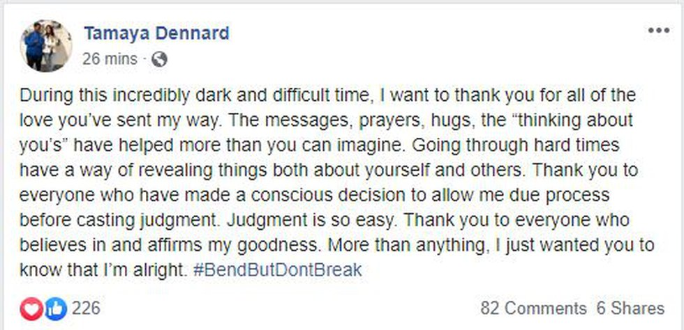 Tamaya Dennard thanked her supporters on her Facebook page Wednesday following her arrest on...