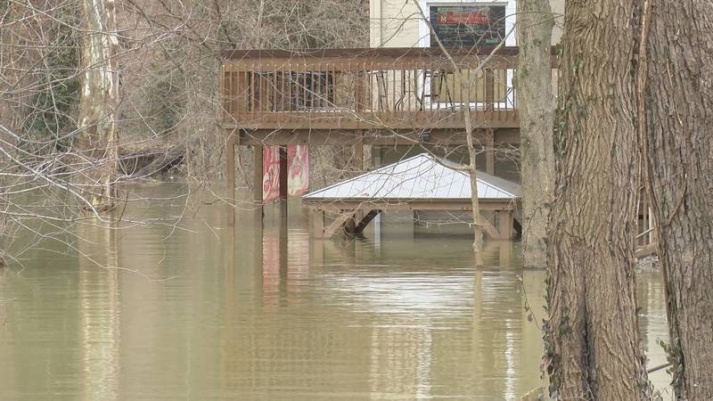 Heavy rain Saturday is causing the Ohio River to rise.