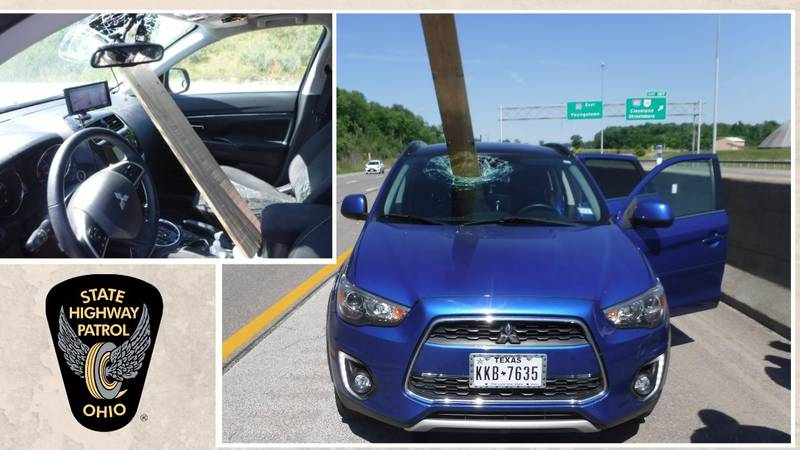 Driver has board crash through windshield while driving in Portage County