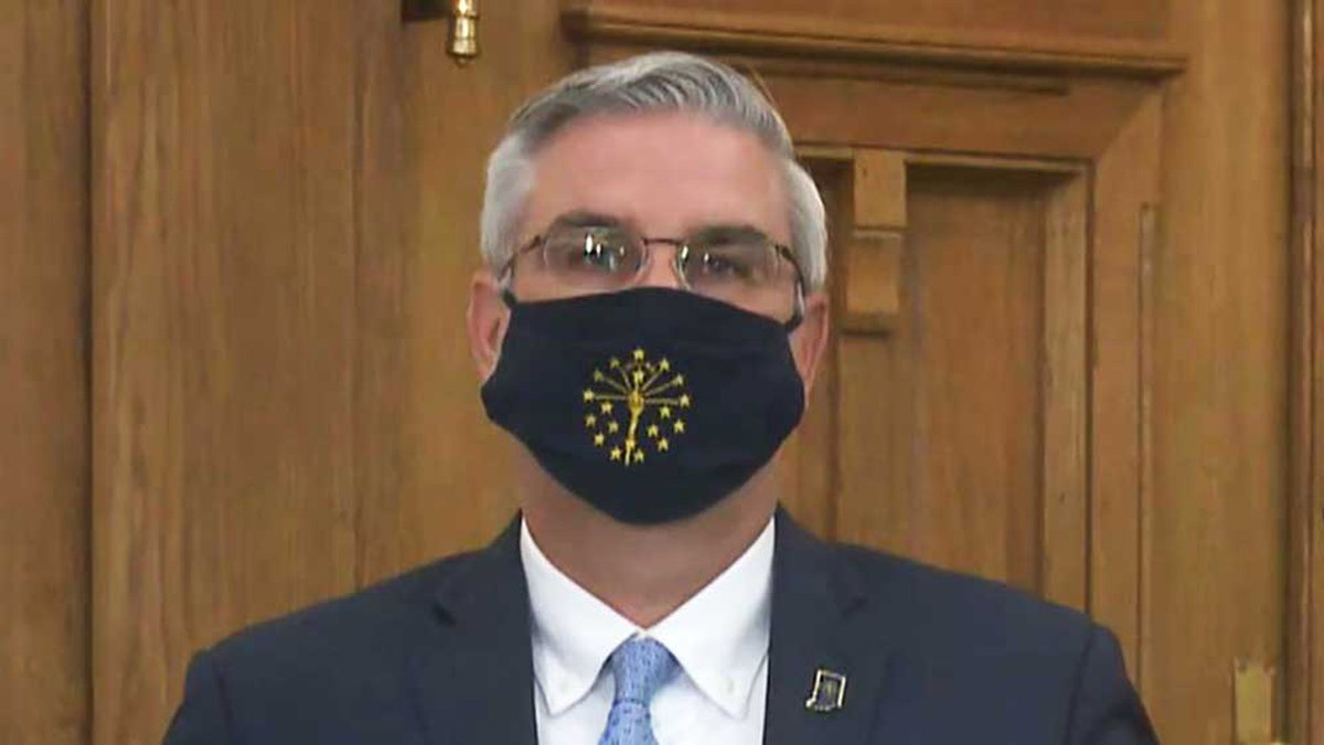 Indiana Gov. Eric Holcomb opened his July 22, 2020 COVID-19 briefing wearing a mask. He then...