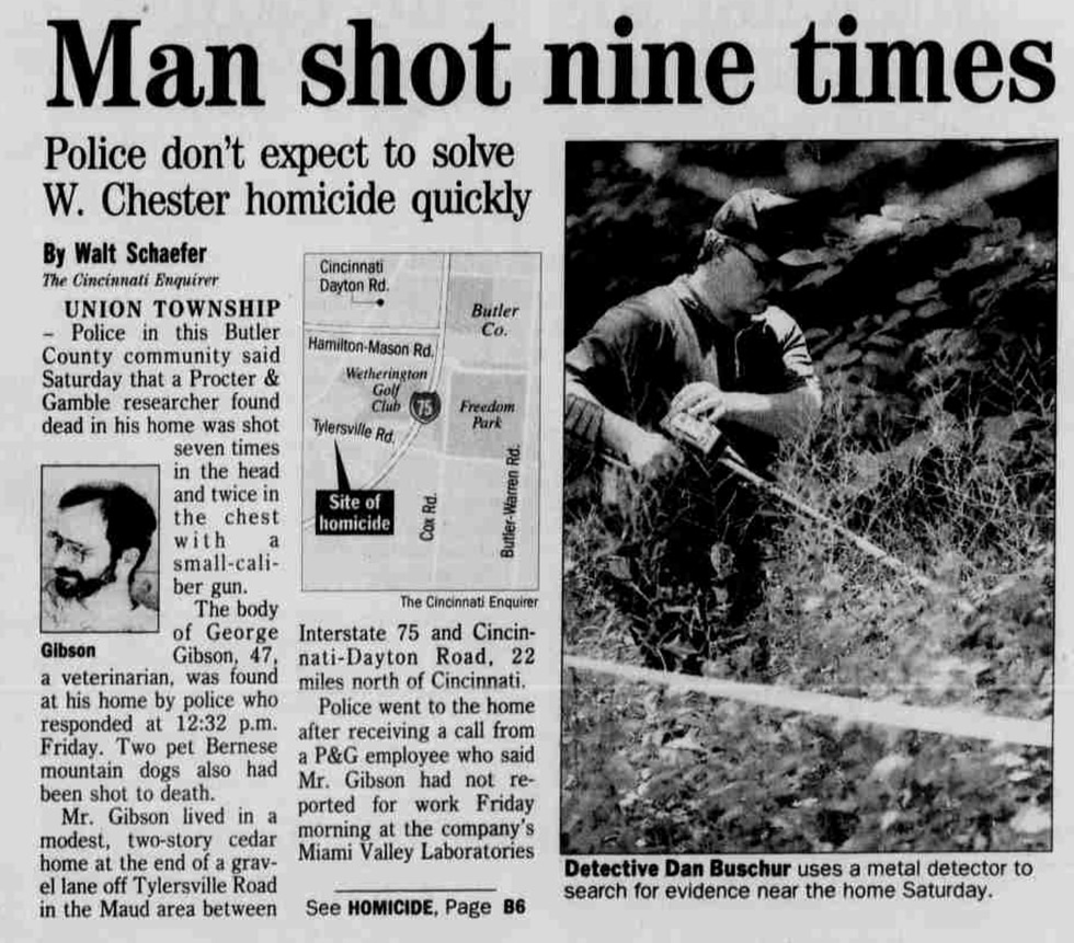 Cincinnati Enquirer article on George Gibson's death.