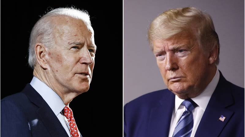 FILE - In this combination of file photos, former Vice President Joe Biden speaks in...