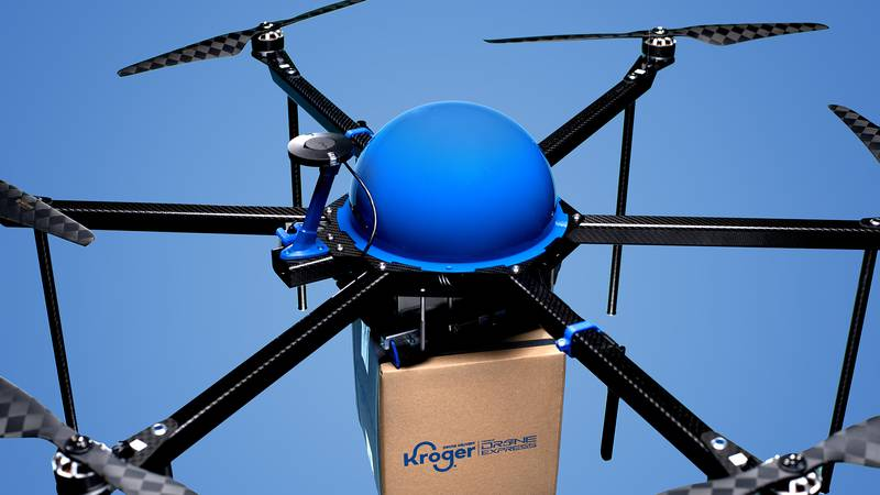 Kroger partnered with Drone Express to help deliver groceries to customers.