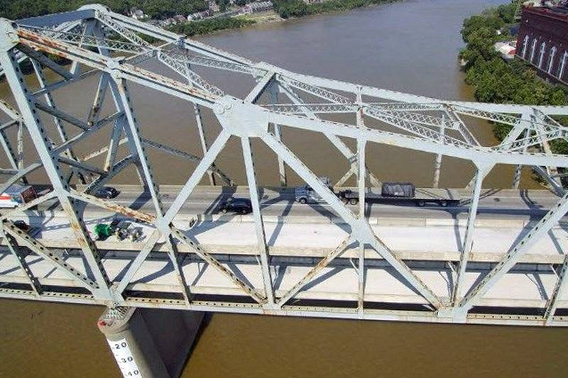 An aerial view of the Brent Spence bridge during Summer 2017 when crews closed several lanes...