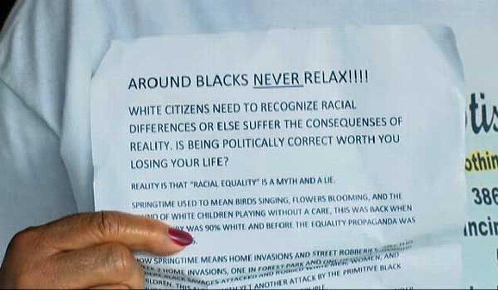 The flyer held by a Forest Park resident.