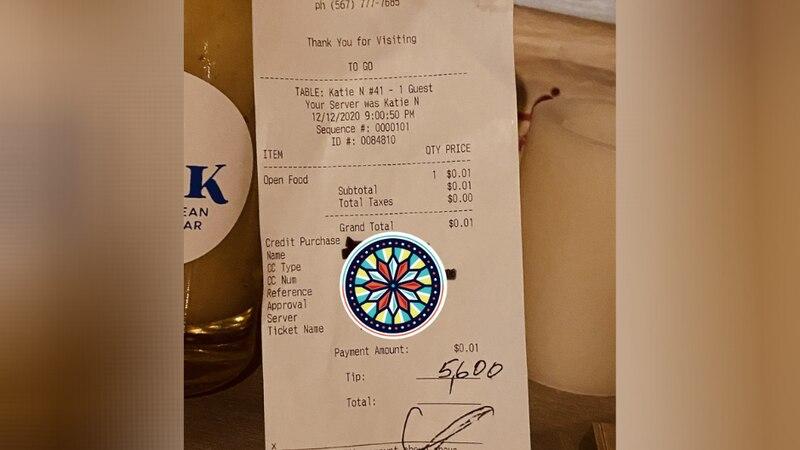 Customer leaves $5,600 tip at Ohio restaurant