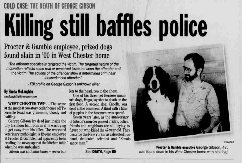 Cincinnati Enquirer article in the aftermath of George Gibson's death.