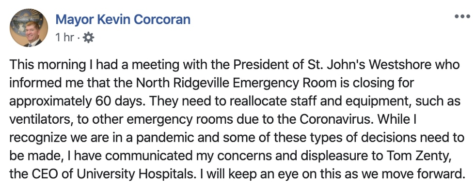 North Ridgeville Mayor Kevin Corcoran offers mixed feelings on declsion to close ER.