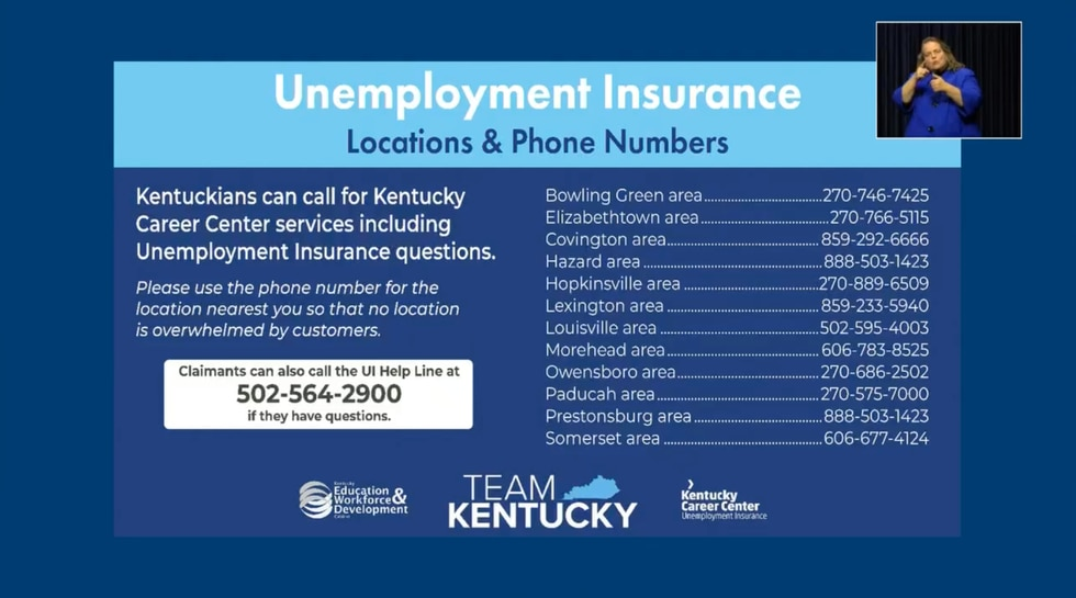 Kentucky regional unemployment claims phone numbers.