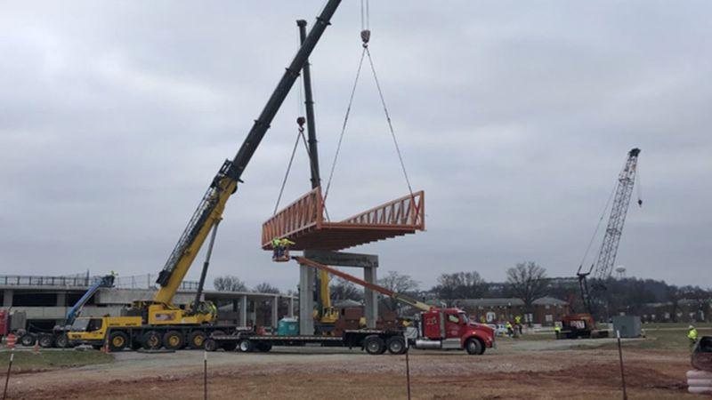 A pedestrian bridge will be installed in Newport, KY Saturday.