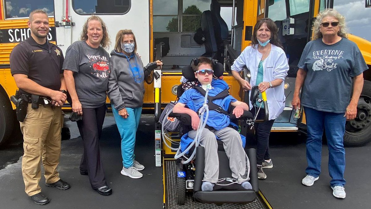 From left to right: Deputy Chris Saunders, Amy Schroder (nurse), Barbara Sizemore (bus aide),...