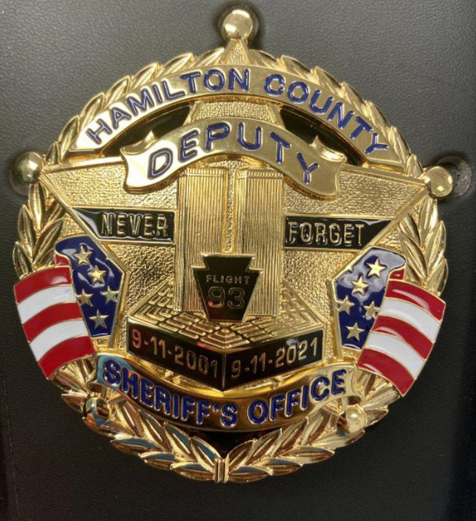 The commemorative 9/11 Hamilton County Sheriff's Office badge deputies will wear beginning...