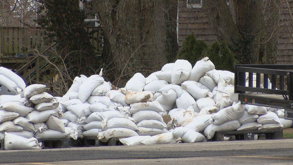 Sandbags outside a building on River Road.