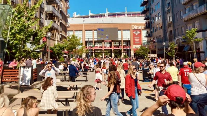 A crowd at The Banks before the Reds game