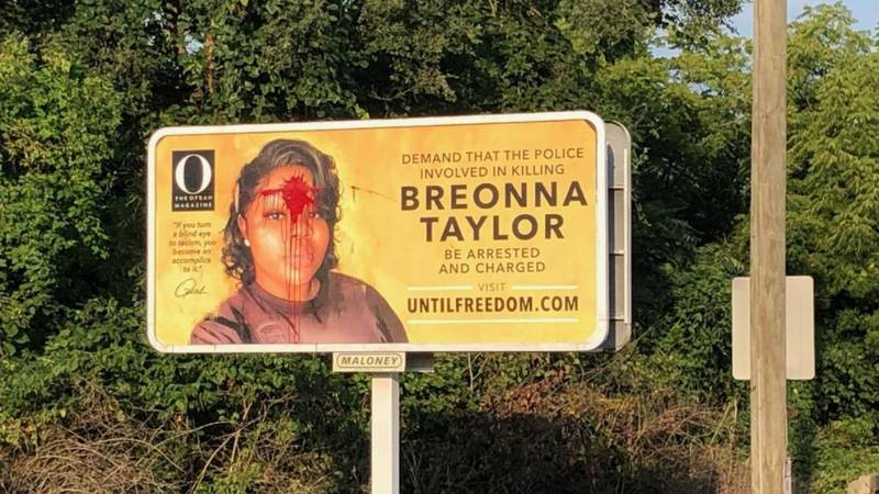A billboard depicting a central figure in America's racial reckoning has been vandalized in...