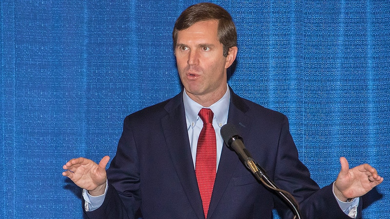 Gov. Andy Beshear in Frankfort, Kentucky on Thursday, February 27, 2020