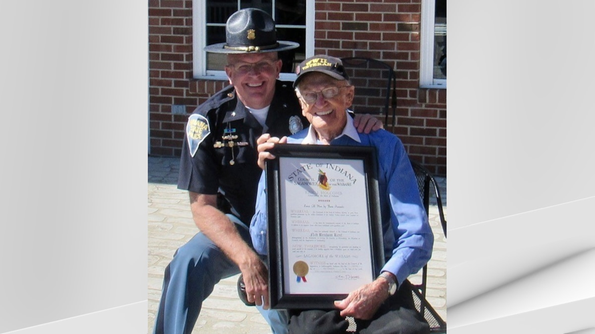 Ned B. Kent, 104, from Sandborn, met with Indiana State Police at an event in Washington, Ind.,...