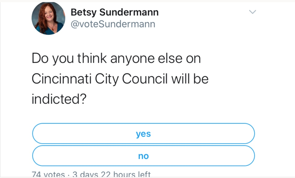 Cincinnati City Councilwoman Betsy Sundermann tweeted out a Twitter poll Wednesday asking if...