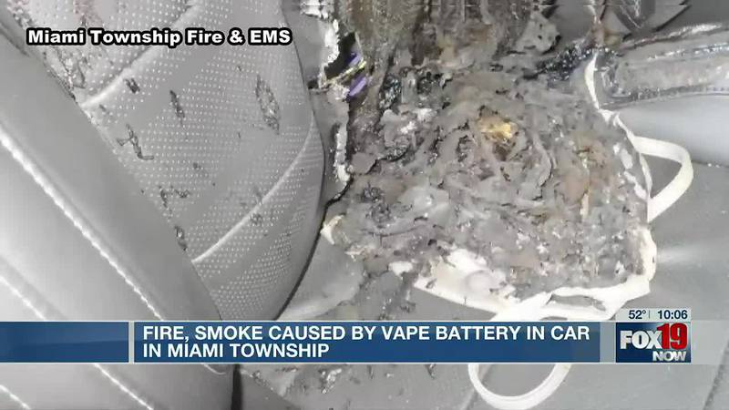 Fire, smoke caused by vape battery in car in Miami Township