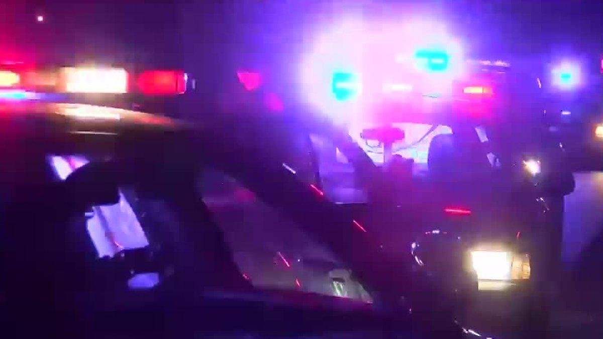 Police lights at a crime scene
