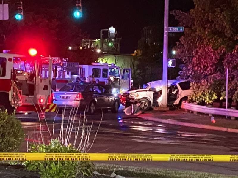 Police at the scene of a crash in Sayler Park on Monday.