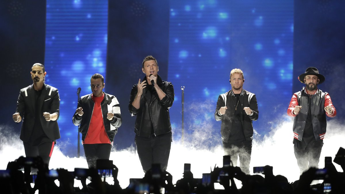 FILE - In this June 6, 2018 file photo, Kevin Richardson, Howie Dorough, Nick Carter, Brian...